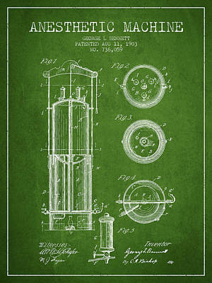 Anesthetic Machine Patent From 1903 - Green Art Print