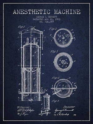 Anesthetic Machine Patent From 1903 - Navy Blue Art Print