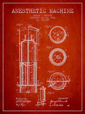 Anesthetic Machine Patent From 1903 - Red Art Print