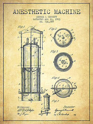 Device Photograph - Anesthetic Machine Patent From 1903 - Vintage by Aged Pixel