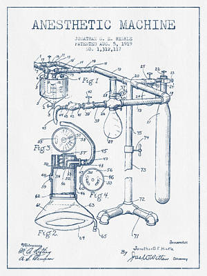 Technical Digital Art - Anesthetic Machine Patent From 1919 - Blue Ink by Aged Pixel