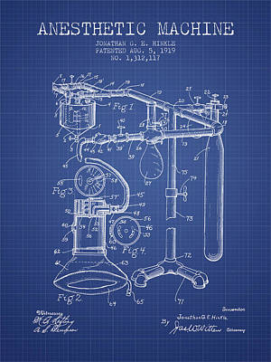 Anesthetic Machine Patent From 1919 - Blueprint Art Print by Aged Pixel