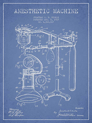 Anesthetic Machine Patent From 1919 - Light Blue Art Print by Aged Pixel