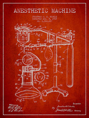 Anesthetic Machine Patent From 1919 - Red Art Print