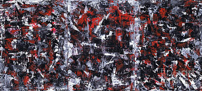Abstract Red Black Grey Painting - Aneurysm 1 - Triptych by Kamil Swiatek