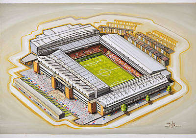 Sports Paintings - Anfield - Liverpool by D J Rogers