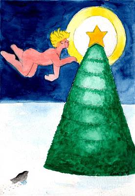 Painting - Angel And Christmas Tree by Genevieve Esson