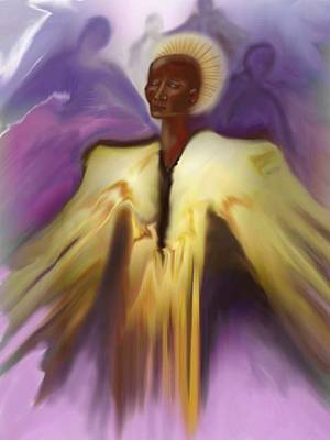 Angel And Guides Art Print by Linda Marcille