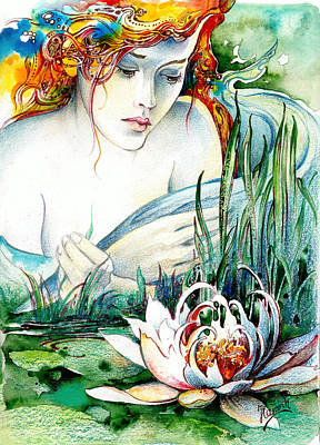 Print featuring the painting Angel And Lily by Anna Ewa Miarczynska