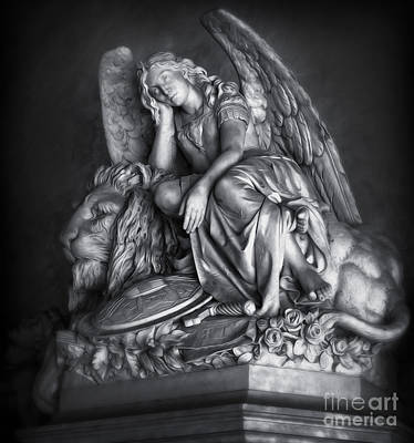 Painting - Angel And Lion Statue In Black And White by Gregory Dyer