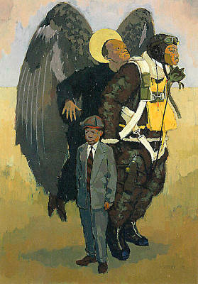 American Airmen Painting - Angel And Pilot With Boy  1998 by Andrew Standeven
