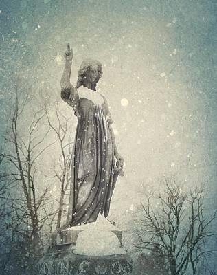 Snowy Gothic Stone Angel Art Print by Gothicrow Images