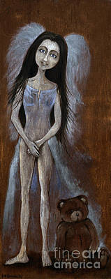 Naked Fairies Painting - Angel And Teddy Bear by Angel  Tarantella