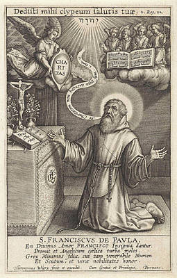 Religious Text Drawing - Angel Appears To St by Hieronymus Wierix
