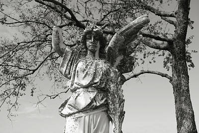 Photograph - angel art -Broken Stone Angel black and white photograph by Ann Powell