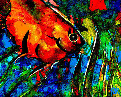 Tropical Stain Glass Digital Art - Angel by Art by Kar