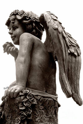 Angel Art Child Angel Wings Ethereal Dreamy Child Cherub Angel Holding Rose-angel With Garland Rose Art Print