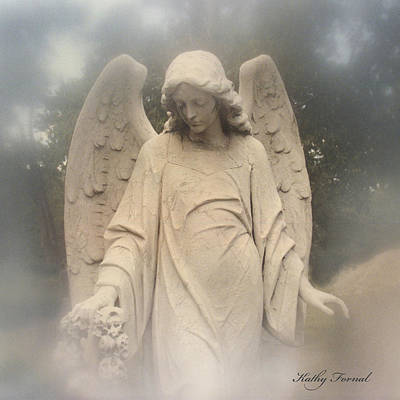 Photograph - Angel Art - Dreamy Ethereal Angel Holding Wreath In Fog - Cemetery Angel Art Monument by Kathy Fornal