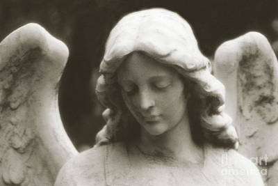Statue Portrait Photograph - Angel Art - Ethereal Dreamy Angel Guardian Angel - Face Of An Angel by Kathy Fornal