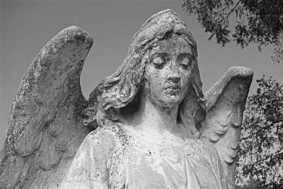 Photograph - Angel Art - Gothic Cemetery Weathered Angel Photograph by Ann Powell