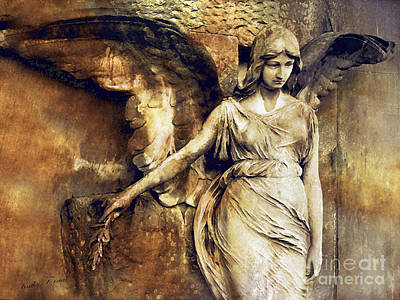 Angel Art - Surreal Gothic Angel Art Photography Dark Sepia Golden Impressionistic Angel Art Art Print by Kathy Fornal