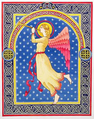 Christmas Card Painting - Angel Blowing Trumper by Lavinia Hamer