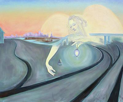 Angel Bringing Light To Meditating Woman At The Train Tracks Art Print by Asha Carolyn Young