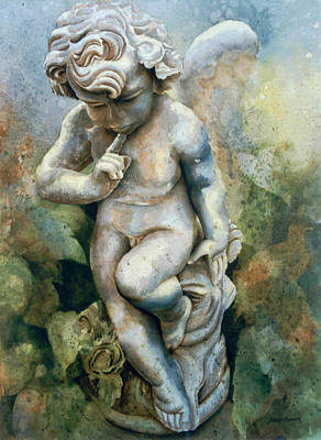 Painting - Angel-cherub by Eve Riser Roberts