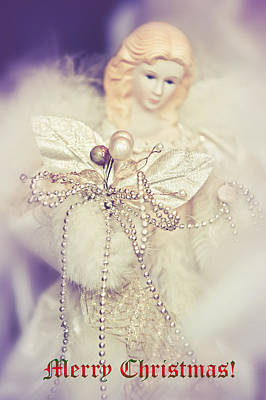 Vinatge Photograph - Angel Coming. Merry Christmas  by Jenny Rainbow