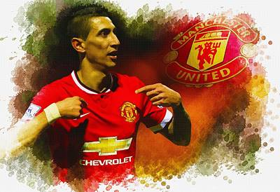 Cristiano Ronaldo Digital Art - Angel Di Maria Of Manchester United Celebrates by Don Kuing