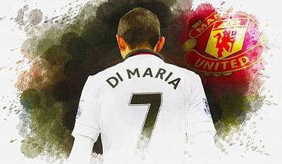 Cristiano Ronaldo Digital Art - Angel Di Maria Of Manchester United In No 7 Shirt by Don Kuing