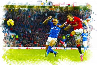 Cristiano Ronaldo Digital Art - Angel Di Maria Shoots Past Danny Simpson by Don Kuing