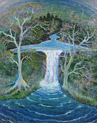 Mystical Landscape Painting - Angel Falls by Beckie J Neff