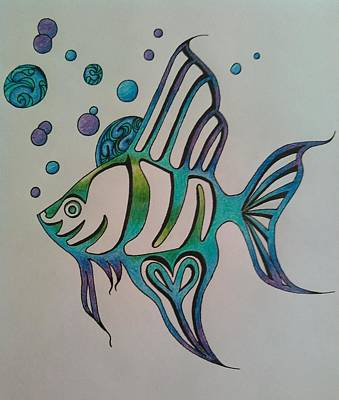 Angel Blues Drawing - Angel Fish by The Empress