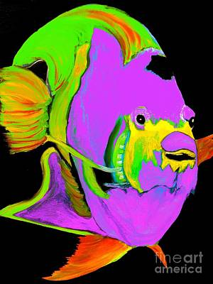 Painting - Angel Fish Purple Abstract by Saundra Myles