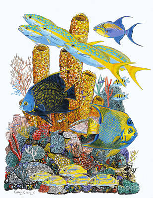 Scuba Painting - Angel Fish Reef by Carey Chen