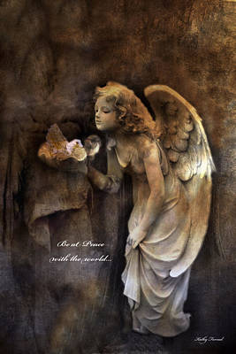 Photograph - Angel Girl Holding Dove Inspirational Angel Art - Be At Peace With The World by Kathy Fornal