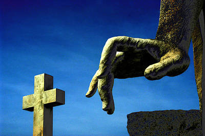 Angel Hand And Cross New Cathedral Cemetery Baltimore Maryland Original by John Hanou