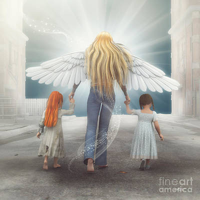 Angel In Blue Jeans Art Print by Jutta Maria Pusl