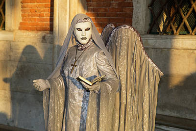 Bible Photograph - Angel In Grey Venice At Carnival Time by Darrell Gulin