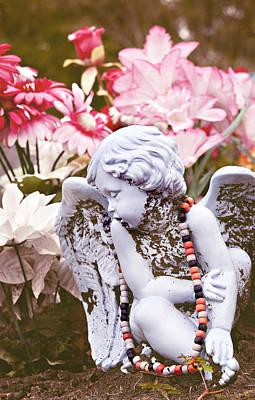 Angel In Mourning La Porte Cemetery Texas Art Print by Angela Bonilla