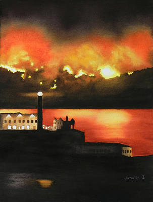 Sausalito Mixed Media - Angel Island Fire by Janaka Ruiz