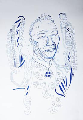 Drawing - Angel Madiba -  Nelson Mandela by Gloria Ssali