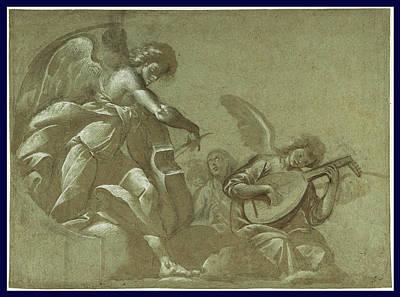 Angel Musicians Recto,  Head Studies Verso Morazzone Pier Art Print
