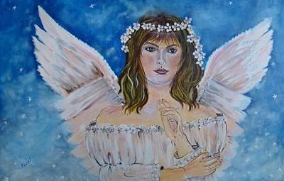 Angel Blues Drawing - Angel Noel by Noel Hernandez