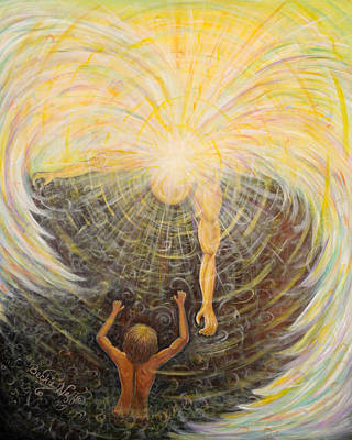 Sun Rays Painting - Angel Of Light by Beckie J Neff