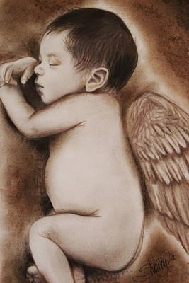 Baby Angel Drawing - Angel Of My Tears by Sheena Pike