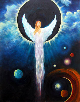 Print featuring the painting Angel Of The Eclipse by Marina Petro