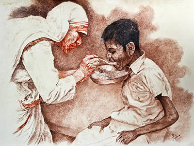 Caring Mother Drawing - Angel Of The Gutter by Sourav Bose