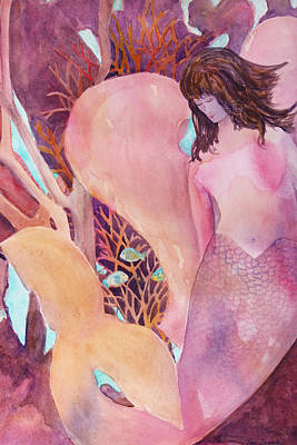 Angel Mermaids Ocean Painting - Angel Of The Sea by Teri  Jones